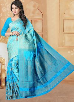 Banarasi Silk Blue Saree - J7089