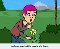 Lashen admires a flower