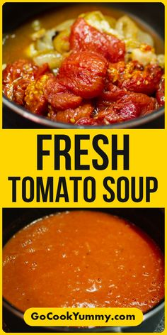Looking to make a creamy tomato from the fresh tomatoes? I have a great recipe for you how to make a tasty homemade tomatoes soup very easy. All you will need are tomatoes, onions a few cloves or garlic and balsamic glaze. Best Brunch Recipes, Dinner Recipes Easy Quick, Vegetarian Recipes Easy, Free Recipes, Fresh Tomato Soup, Tomato Soup Recipes, Fast Healthy Meals, Healthy Soup, Most Delicious Recipe