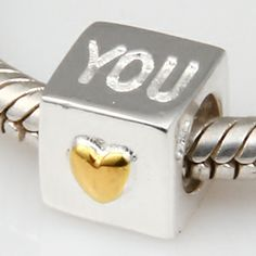 I Love You Authentic 925 Sterling Silver Core Beads