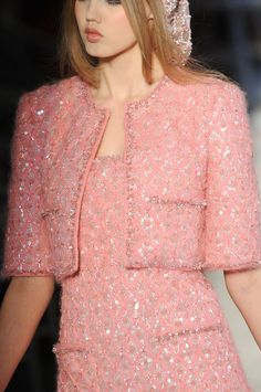 Chanel at Couture Fall 2012 - Chanel Clothes - Trending Chanel Clothes - in pink Chanel I keep forgetting my favorite color is purple! Pink Fashion, Cute Fashion, Runway Fashion, Fashion Dresses, Vintage Fashion, Womens Fashion, Coco Chanel Fashion, London Fashion, Fashion Fashion