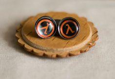Half-Life Emblem Earrings - Lambda logo