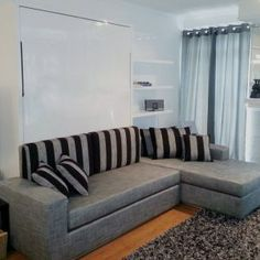 If you have the space to lounge out on your chaise and need to accommodate more guests, then look no further than the Clean or Float sectional wall beds. Expand Furniture, Folding Furniture, How To Clean Furniture, Small Space Living, Living Spaces, Living Room, Murphy Bed With Sofa, Space Saving Table, Bed Unit