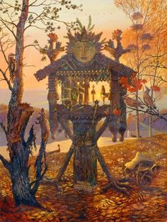 """A Beautiful welcome to Autumn. Piece is """"Forest Altar"""" by Vsevolod Ivanov. The images of the sun rising through the altar space and the roosters crowing, makes me believe the primary diety represented here is the Zorya of the Dawn. Illustrations, Illustration Art, Baba Yaga House, Russian Folk, Fantasy Inspiration, Monster, Faeries, Folklore, Fantasy Art"""