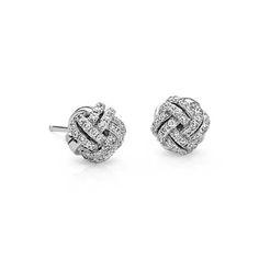 Love Knot Diamond Earrings in 14k White Gold