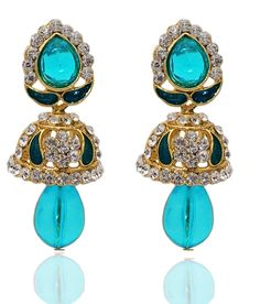 Best for Ethnic Occasions, Kriaa Kundan Austrian Stone Blue Meenakari Drop Gold Plated Jhumki Earrings Buy Now at http://www.kriaa.in/product/1304807/Kriaa-Kundan-Austrian-Stone-Blue-Meenakari-Drop-Gold-Plated-Jhumki-Earrings/?pd=FIHI