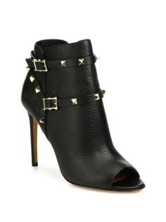 Valentino - Rockstud Leather Peep-Toe Booties