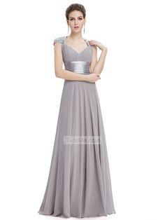 Grey Chiffon Open Back A Line Sweep Train Fashion Long Prom Dress