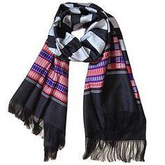 House of Wandering Silk - Afghan silk scarf in black & grey (Af14)