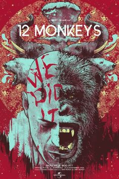 "12 Monkeys by Nikita Kaun / Facebook / Twitter / Tumblr / Instagram / Store ""Wonderful World"" Edition - 24"" x 36"" 7 color screen print with gold metallic and blacklight inks on French Ultra White stock, numbered edition of 66. Available here. ""La..."