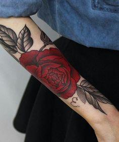 Red Rose and Leaf Tattoo Design on Arm for Women