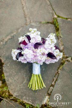 Soft, romantic calla lily and hydrangea bouquet.