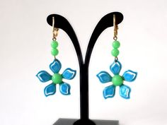 Flower Power Earrings Long Dangle Earrings by BunnyFindsVintage