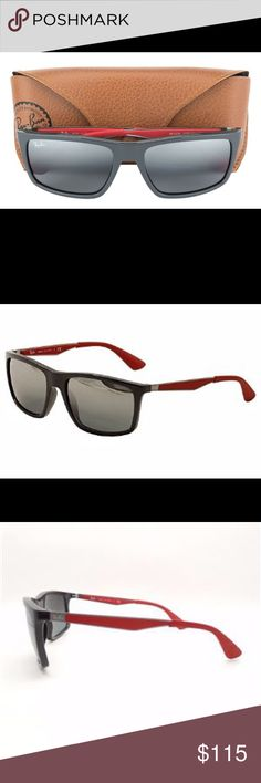 Authentic Raybans! Brand new w/out tags! Rayban 4228 6185/88 size is58/18. Frame color is grey with red. Lenses are black gradient w/silver mirror effects. Comes with case and cloth. No trades and please use offer button. Thanks Ray-Ban Accessories Sunglasses