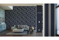 Eine Dunkelblaue Tapete Wirkt Sehr Edel Im Wohn , Ess  Oder Schlafzimmer.  Verbunden