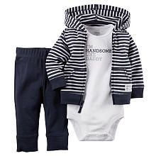 Carters Boys 3 Piece Navy Striped Zip Up Hooded Cardigan, Navy Pant and White Im Handsome Like My Daddy Bodysuit Set