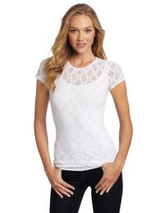 Only Hearts Women's Stretch Lace Cap Sleeve Crew Neck Tee