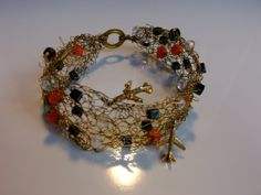Bracelet crocheted golden metal wire with moon by aheaddesign, €49.00
