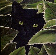 Art: PEEKING CAT by Artist Rosemary Margaret Daunis