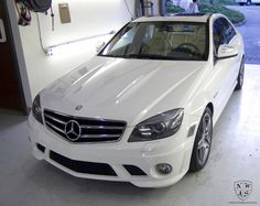White Mercedes C63 AMG gets Full Exterior and Interior Detail and Jean Transfer Removal