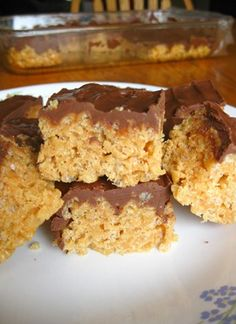 Scotcharoos...so yummy! Rice crispy treats mixed with peanut butter and chocolate on top.