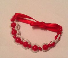 Cherry Beaded Bracelet by Dresstress on Etsy https://www.etsy.com/listing/220520513/cherry-beaded-bracelet