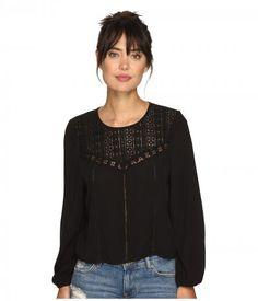 Amuse Society - Sunset Rose Woven Top (Black) Women's Clothing