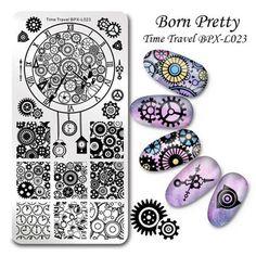 BORN PRETTY 1 Pc 12*6cm Nail Art Stamping Plate Rectangle Nail Template Manicure Nail Art Image Plates Stencil Nail Tools