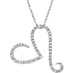1/10 Carat T.W. Diamond Sterling Silver Heart Pendant Necklace (White) (274,865 KRW) ❤ liked on Polyvore featuring jewelry, necklaces, white, diamond pendant necklace, white necklace, heart shaped necklace, chain necklace and diamond necklaces