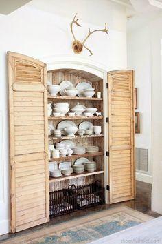 Pretty Shuttered Cabin Dining Room Shelf