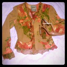 TRACY REESE floral wool & chiffon jacket Perfectly ladylike tropical-weight wool jacket with a rose pattern on tan background. Chiffon ruffle has the same rose pattern. Short peplum cut with incredible piecing to flatter the figure. Belted back with gold buttons. Excellent condition. Tracy Reese Jackets & Coats