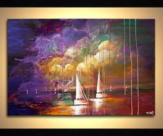 36 Colorful Sail boats Painting Rain Original by OsnatFineArt, $460.00
