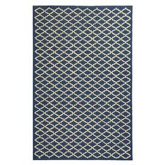 Hand-hooked cotton rug with a trellis motif.    Product: RugConstruction Material: CottonColor: Indigo and light yellowFeatures: Hand-hookedNote: Please be aware that actual colors may vary from those shown on your screen. Accent rugs may also not show the entire pattern that the corresponding area rugs have.Cleaning and Care: Professional cleaning recommended