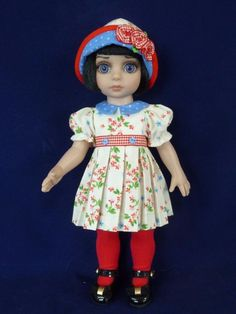 """Blue Dots Outfit with Shoes for Tonner 10"""" Patsy Doll"""