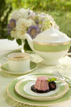 A cold dessert on a warm day is simply divine especially when served on Martha Stewart Garland in Moss china.