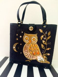 Halloween Owl Purse/Vintage Jeweled Purse/Top by PrincyPopVintage