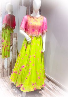 SC-D5127 : Green and pink tie dye cape dress!!!  Issa can customize the colour   size as per your requirement.  To order please call/ WhatsApp on 9949944178 or mail us @ issadesignerstudio@gmail.com