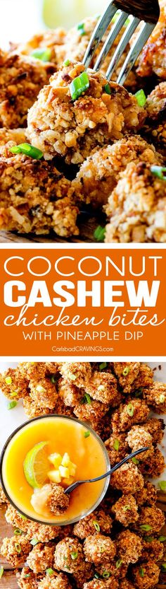 I am in LOVE with these BAKED COCONUT CASHEW CHICKEN BITES with sweet and tangy Pineapple Dip! Sweet and spicy, crunchy outside, tender inside and the flavor combo is dreamy! The BEST appetizer that everyone raves about! You seriously won't be able to stop eating them!