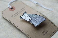 terrier dog brooch - by elizabeth pawle - modern design - hand drawn hand cut - black and white illustration pin badge by ElizabethPawle, via Etsy.