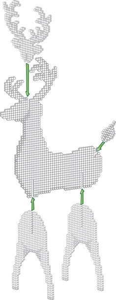 3D White Reindeer - Christmas Perler Project Pattern