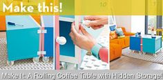 Make It: A Rolling Coffee Table with Hidden Storage! {537845} #hidden #storage #hiddenstorage Roll out! Or roll away. Or roll open, shut, or partially closed at a jaunty angle. All this (and more!) is possible with this colorful DIY coffee table. Say goodbye to storage woes, my friends... and just keep rollin'. First things first, the instructions for this DIY project are in... Dutch. BUT, it's so simple, that even the sketchy Google Translate results are enough to figure everything out… Toy Storage Bench, Round Storage Ottoman, Storage Room Organization, Closet Shoe Storage, Rolling Storage, Ikea Storage, Cube Storage, Arts And Crafts Storage, Craft Storage