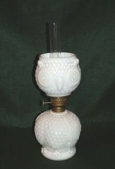 SCARCE FIGURAL OWL MINIATURE OIL LAMP LIGHTING