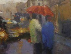 El paraguas rojo- 65X54 cm.