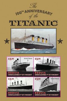 Bequia Grenadines OF Saint Vincent 2013 Titanic Anniversary Ship Movie Movie Search, Bequia, Saint Vincent, Rms Titanic, Tall Ships, Grenadines, Postage Stamps, Art Photography, The 100