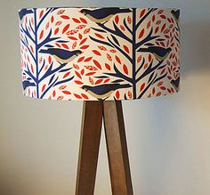 Coral And Blue Birds Designer Drum Lampshade - lighting