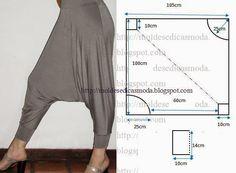 Para facilitar a construção do molde de calça saruel a imagem em baixo inclui as medidas. As medidas não incluem a margem de costura, por isso tem que...