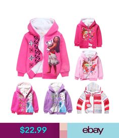 Girls' Clothing (Sizes 4 & Up) Disney Princess Kids Girls Thick Coat Winter Warm Hoodies Sweatshirt Jacket #ebay #Fashion