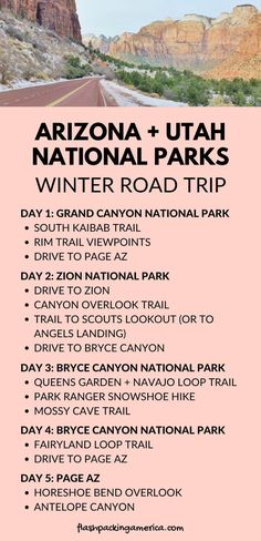 Arizona Utah national parks 5 day winter road trip from Phoenix