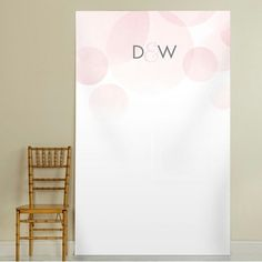 Customized Wedding Photo Backdrop with Pink Watercolor Circles. Create the perfect wedding photos with uniquely designed photo backdrops and photo booth backgrounds.