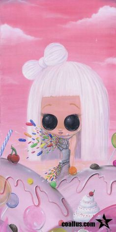 """""""Sugar Monster"""" 15x30 oil on canvas. Lady Gaga in Candyland."""